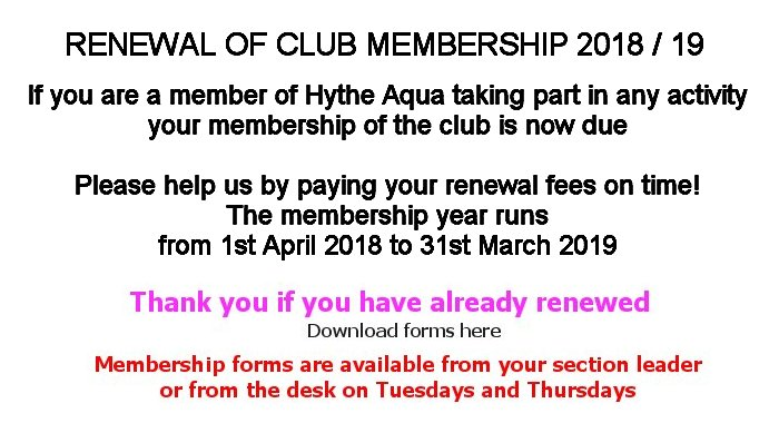 Renewal of Club Membership