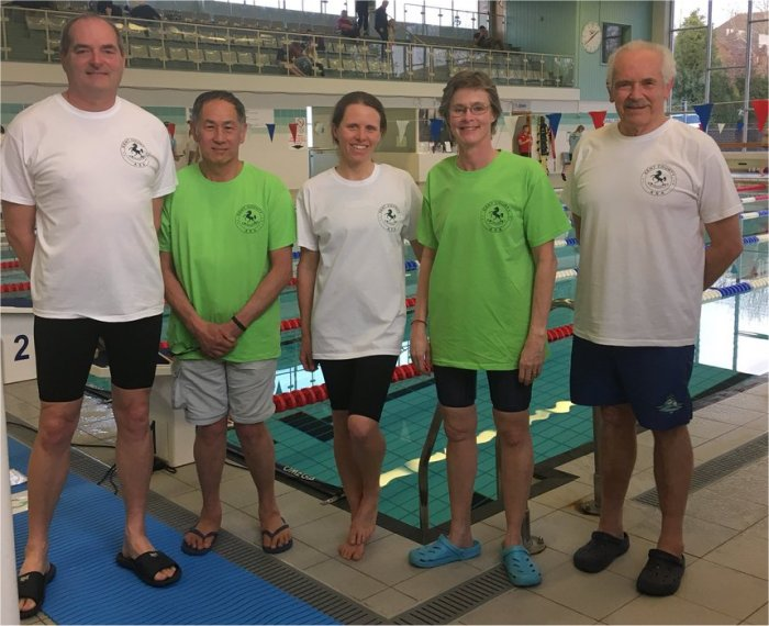 Hythe Aqua swimmers just before start of the Kent v Sussex cup