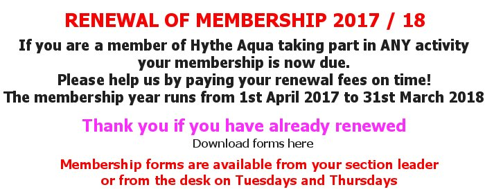 If you are a member of Hythe Aqua taking part in ANY activity your membership is now due